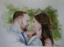 Married | Original Art portrait | Mishkalo Wedding Registry for Art